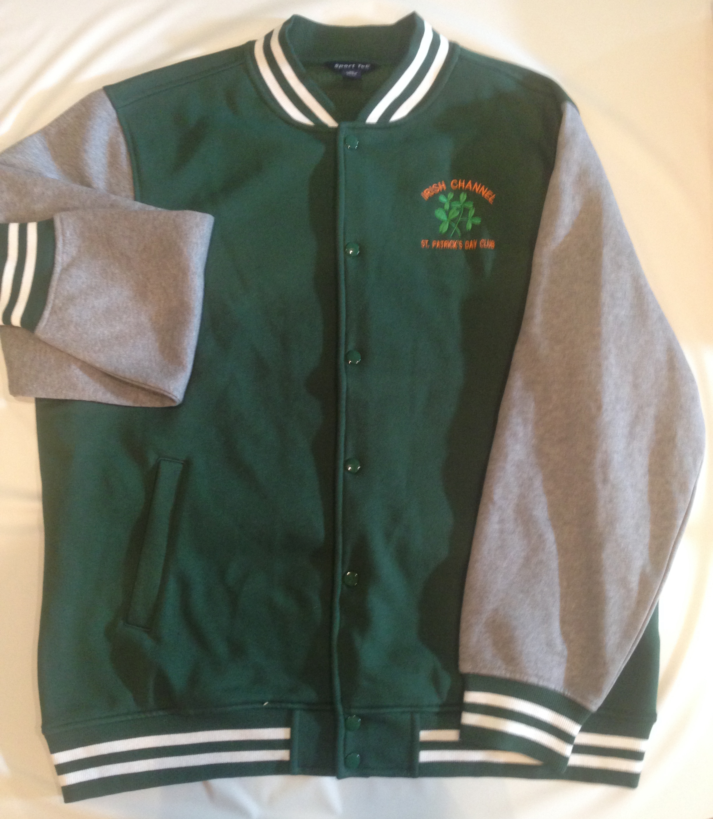 Embroidered fleece letterman jacket irish channel st